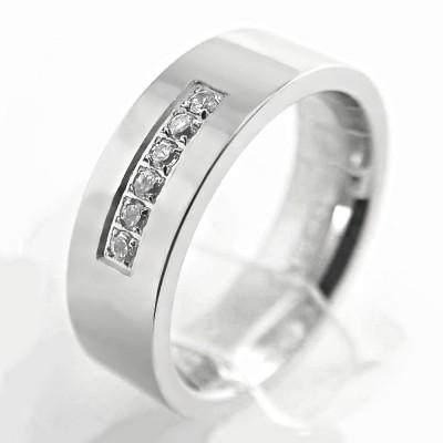 Ocelový prsten- Leštěný s Kameny / Shiny / Stones (3011)