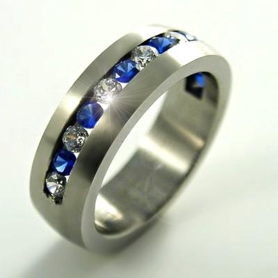 Ocelový prsten EXEED - Modré a Bílé Kameny / Matt (2653)