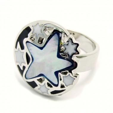 Ocelový prsten EXEED - Pearl C. star (3645M)