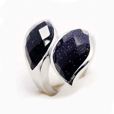 Ocelový prsten EXEED - 2 Black Stones (3856)