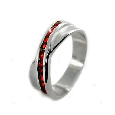 Ocelový prsten EXEED - Červené Kameny / Red Stones (2861)