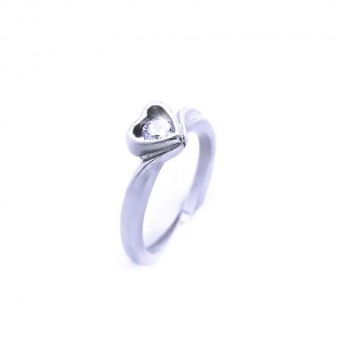 Ocelový prsten Exeed - Srdce / Kamínek (240783)