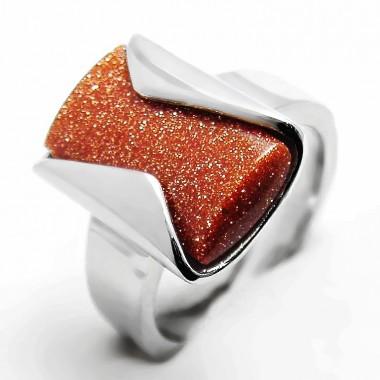Ocelový prsten EXEED - Hnědý kámen (3689)