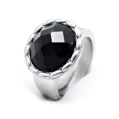 Ocelový prsten EXEED - Černý kámen / black stone / circle (3544)