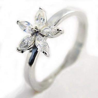 Ocelový prsten EXEED -  Květina / Kamínky / Flower / Stones (3163))