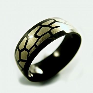 Ocelový prsten EXEED - Black Ornament (2456)