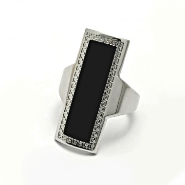 Ocelový prsten EXEED - Černá Řecká Pečeť / Greek Black / (3802)