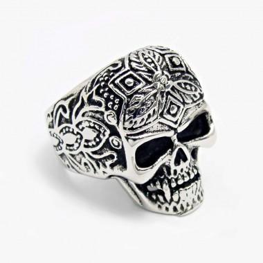 Ocelový prsten - Lebka / Ornament Skull (5862)
