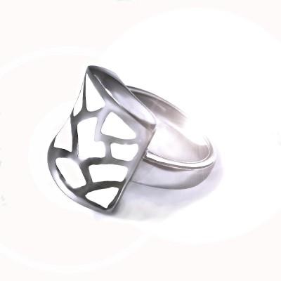 Ocelový prsten - Bílá Mozaika / White Mosaic (6565)