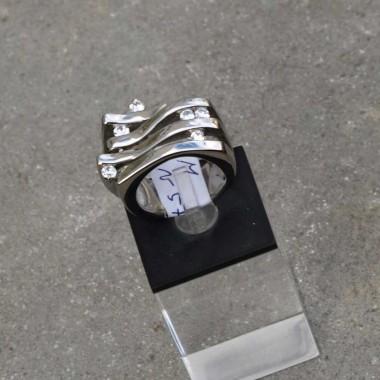 Ocelový prsten Stone - Waves
