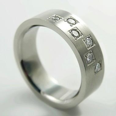 Ocelový prsten - Matt/Stones/Chessboard