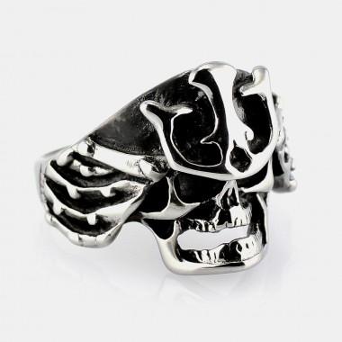 Ocelový prsten - Samurai Skull