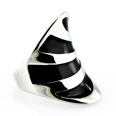 Ocelový prsten - Black F (5174)