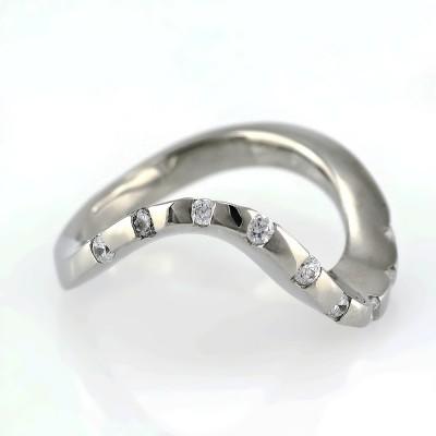Ocelový prsten - Leštěná Vlnka / Kameny / Shiny / Wave / Stones (5073)