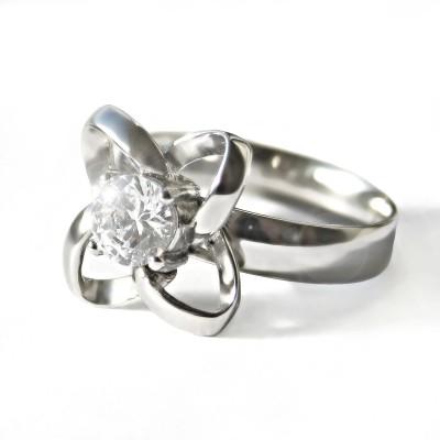Ocelový prsten - Čtyřlístek s Kamenem / Quatrefoil / Stone (6778)