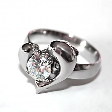 Ocelový prsten - Delfínci s kamenem / Dolphins / Stone (6780)