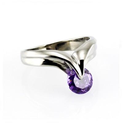 Ocelový prsten - Fialový Kámen / Violet  (5560)