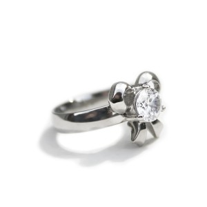 Ocelový prsten - Mašlička s Kamenem / Bow / Stone (6774)