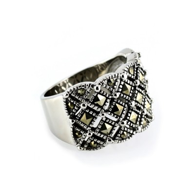 Ocelový prsten- Kameny / Markazity (5225)
