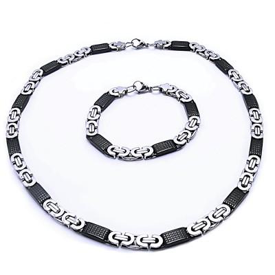 Ocelový náhrdelník + náramek Královská Vazba / Černá / Ocel 0,8 cm (9032)
