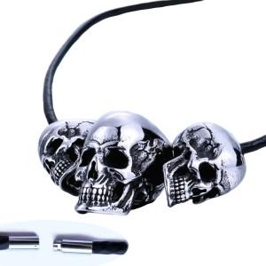 Ocelový náhrdelník - Tři Lebky / Skulls / Kůže (V018)