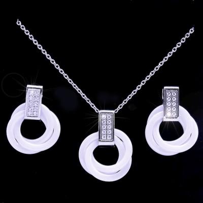Ocelové Náušnice + Přívěsek s řetízkem / Kroužky / Bílá Keramika (7721)