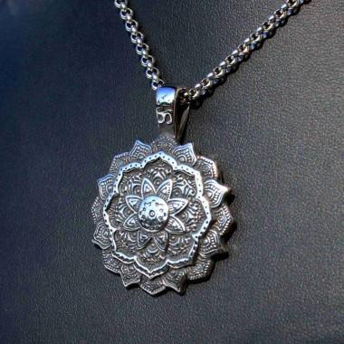 Ocelový přívěsek + Řetízek - Mandala / Amulet / Rings 3 mm