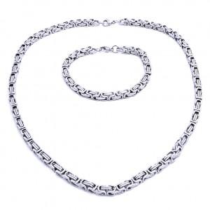 Ocelový náhrdelník + náramek Královská Vazba 0,4 cm / shiny (7570)