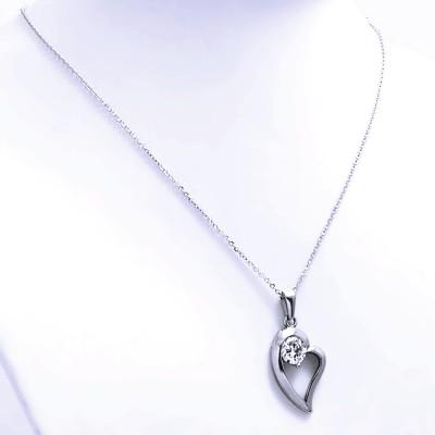Ocelový Přívěsek s Řetízkem - Srdce / Kamínek (7423)