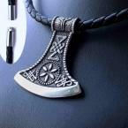 Ocelový přívěsek - Vikinská Sekera / Viking Axe + Kůže 60 cm (018)