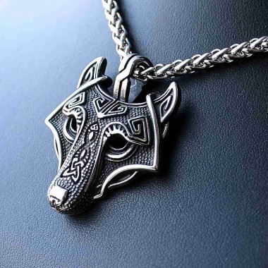 Ocelový Přívěsek - Vlk Fenrir / Wolf / Pagan + Řetízek Celtic (018)