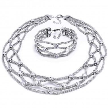 Ocelový náhrdelník + Náramek / Pletený s Kameny (7222)