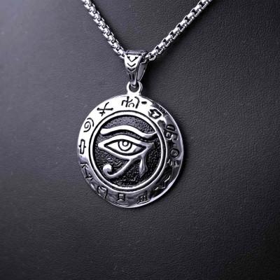 Ocelový přívěsek + Řetízek - Horus Zodiac / Amulet / Řetízek 3 mm.