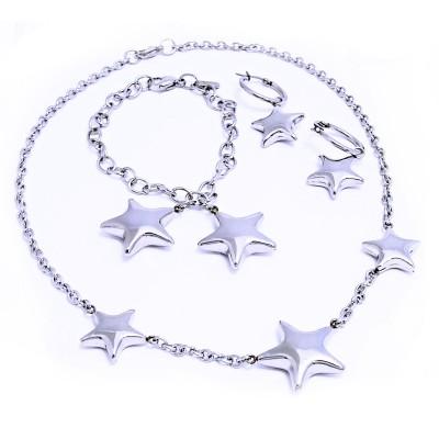 Ocelový náhrdelník + Náramek + Náušnice / Hvězdičky (1229)