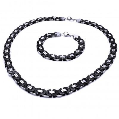 Ocelový náhrdelník + náramek - Plochá Vazba 0,8 cm / shiny / Black (9726)