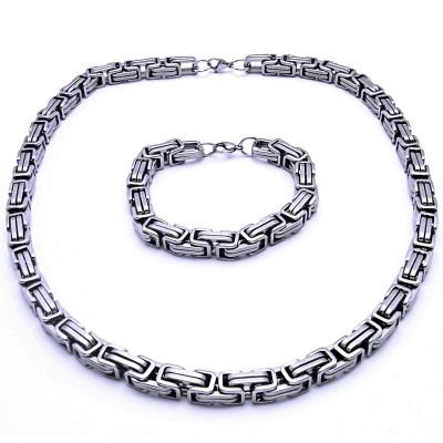 Ocelový náhrdelník + náramek Královská Vazba 1 cm / shiny (9057)