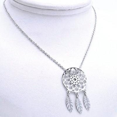 Ocelový náhrdelník - Přívěsek + řetízek - Lapač snů (9689)