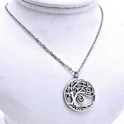 Ocelový náhrdelník - Přívěsek + řetízek - Strom Života (9675)