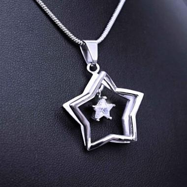 Ocelový Přívěsek - Hvězda s kamenem + Řetízek Hádě