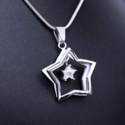 Ocelový Přívěsek - Hvězda s kamenem + Řetízek Hádě 50 cm