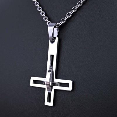 Ocelový Přívěsek + Řetízek - Obrácený kříž / upside down cross 09