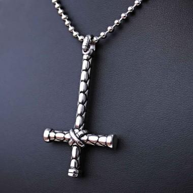 Ocelový Přívěsek + Řetízek - Obrácený kříž / upside down cross 08