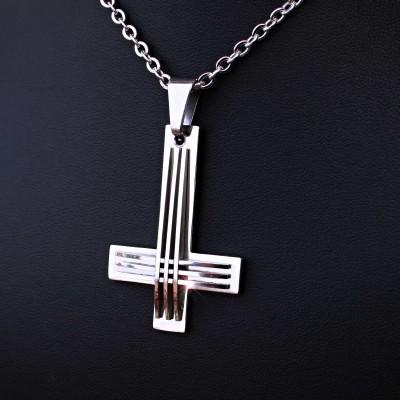 Ocelový Přívěsek + Řetízek - Obrácený kříž / upside down cross 07