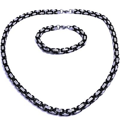Ocelový náhrdelník + náramek - Královská Vazba 0,6 cm / shiny / Black (9629)