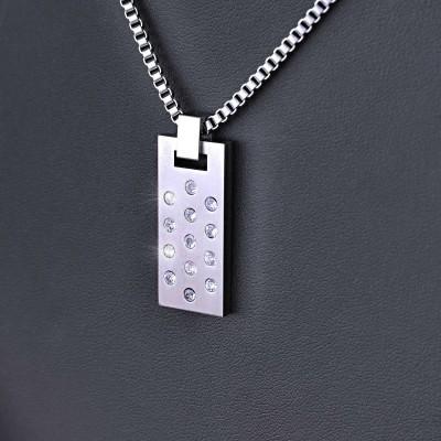 Ocelový Přívěsek + Řetízek - AN / Crystals / Preciosa (021)