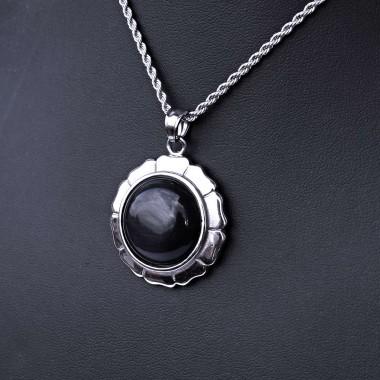 Ocelový přívěsek + Řetízek - Květina s černým kamenem / Valis (021)