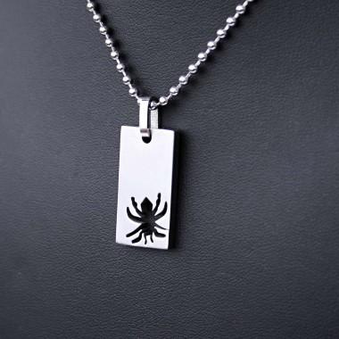 Ocelový přívěsek + řetízek - Destička / pavouček pro štěstí (021)