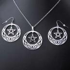 Ocelový Náhrdelník + Náušnice - Pentagram / Triquetra / Wicca