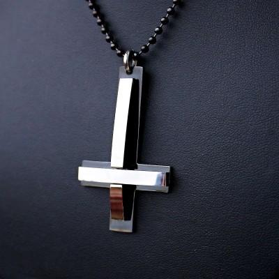 Ocelový Přívěsek s Řetízkem -  Obrácený kříž / Black / upside down cross 11