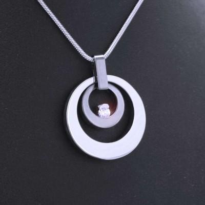 Ocelový Přívěsek + Řetízek / AN / Kruhy s kamenem (V020)